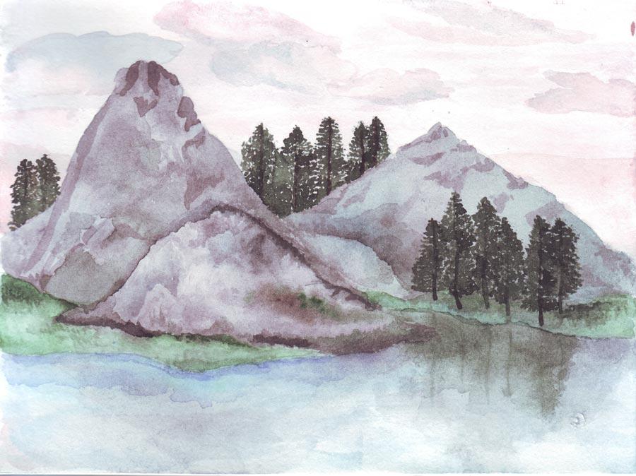 Акварель: горный пейзаж