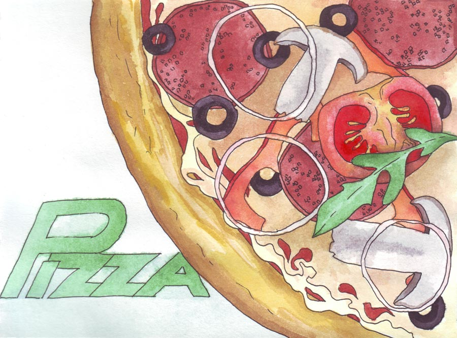 Акварель: пицца с грибами